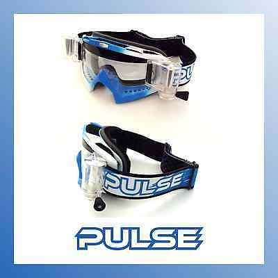 2017 Pulse Assassin Motocross Mx Goggles  - Blue & White With Roll Off System