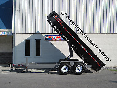 16' BWise HD Dump Trailer-Hydraulic Jack, 3 Way Gate, Ramps and more
