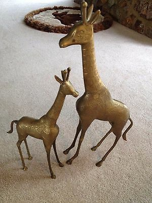 "Brass Giraffes Figurines Set of 2 Mother and Baby 22 1/2""  & 17"""