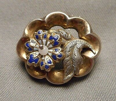 Tiny Beautiful Antique Victorian Gold Filled Enameled Flower Brooch marked ER