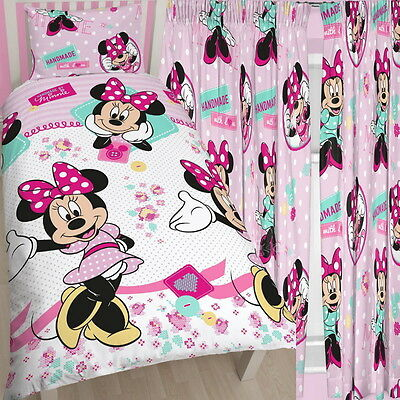 "Minnie Mouse Handmade Single Duvet & Matching Curtains Set 54"" 72"" Drop Bed Set"