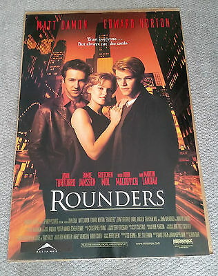 Rounders (1998) Original One Sheet Movie Poster 27x40 Matt Damon Edward Norton