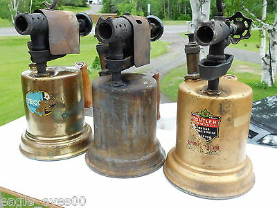 Nice Lot 3 Antique Brass Metal Blowtorch Vintage Eatons Butler Canada #100 #56