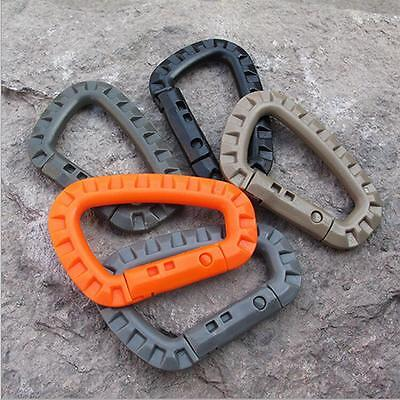 5Pcs Outdoor Carabiner Buckle Clip Hook  Camping Key Chain Snap Plastic D-Ring