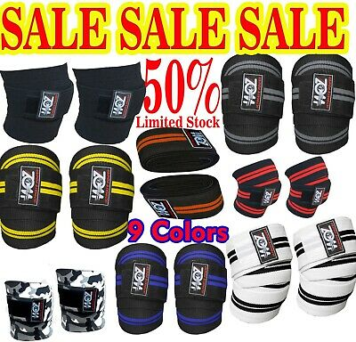 Woz Weight Lifting Knee Wraps Heavy Duty Gym Bodybuilding Support Straps