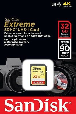 32GB SanDisk Extreme SDHC Class 10 Memory Card up to 90Mbps 600X with U3 new