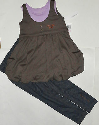 New Calvin Klein 2Pc Girls Outfit Set 5 Years Top Leggings Jegging  Auth