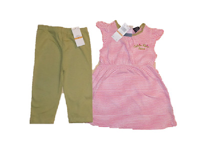 New Calvin Klein 2Pc Outfit Set 3 Years Pink Striped Babydoll Top Leggings Set