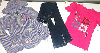 NEW CALVIN KLEIN 3PC GIRLS OUTFIT SET 6-7 YEARS HOODIE JACKET top jeans SET AUTH