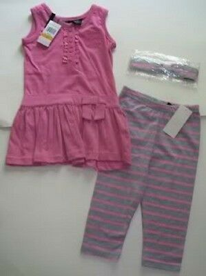 New Calvin Klein 3Pc Girls Outfit Set 3 Years Top, Leegings Headband Authentic