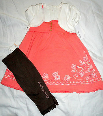 New Calvin Klein 2Pc Girls Outfit Set 2 Years Babydoll Top, Leggings Set Auth
