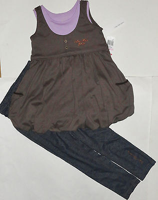 New Calvin Klein 2Pc Girls Outfit Set 6 Years Top Leggings Jegging  Auth