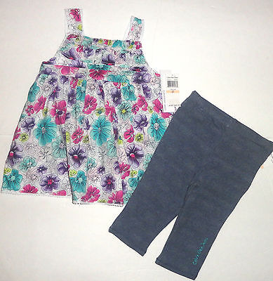 New Calvin Klein 2Pc Girls Outfit Set4-5 4 Years Floral Top Leggings Set Auth