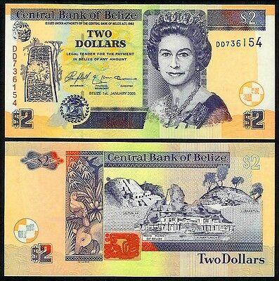 BELIZE 2 DOLLARS 2005 P66b UNCIRCULATED
