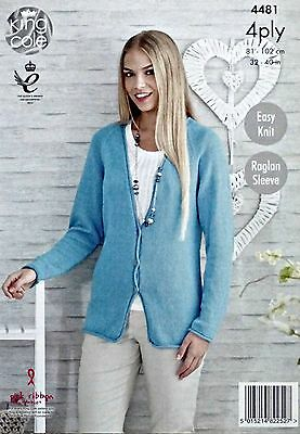 KNITTING PATTERN Ladies Easy Knit Long Sleeve Cardigan Bamboo Cotton 4ply 4482