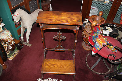 Antique Christianity Wooden Kneeling Prayer Bench Stool-Crucifix Center-LQQK