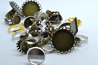 20pcs Mix Gold Silver Colour and Bronze Tone Adjustable Filigree Ring Blanks