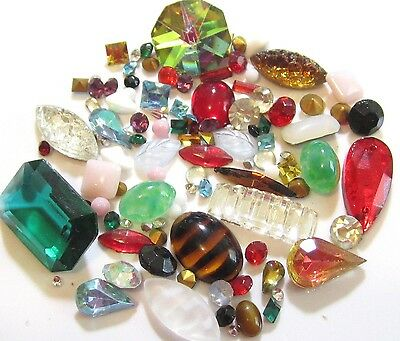 Vintage Mixed Lot Special Loose Glass Rhinestones,cabs Jewelry Repair Craft*s457