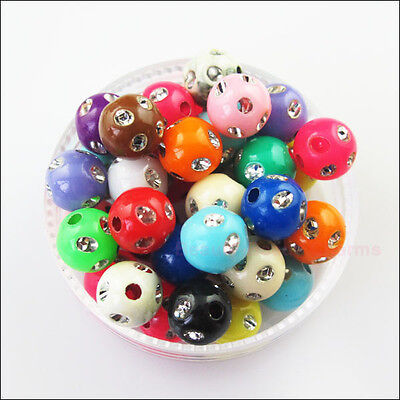 70Pcs Mixed Acrylic Plastic Round Ball With Crystal Spacer Beads Charms DIY 8mm