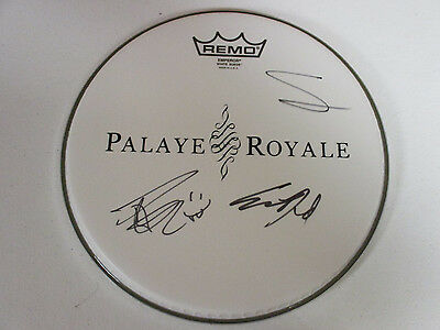 Palaye Royale Autographed Signed Drumhead With Signing Picture Proof
