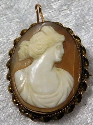 Atq Victorian Shell Carved Woman Cameo Gold Filled Pendant Pin Brooch