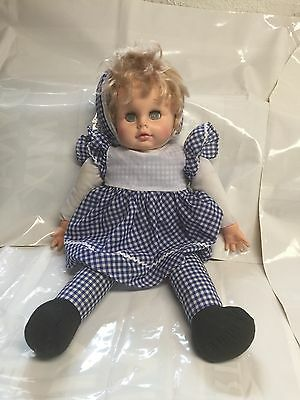 """VINTAGE EeGEE DOLL GOLDBERGER 18"""" Pull string talks - Gingham Outfit -Cloth Body"""