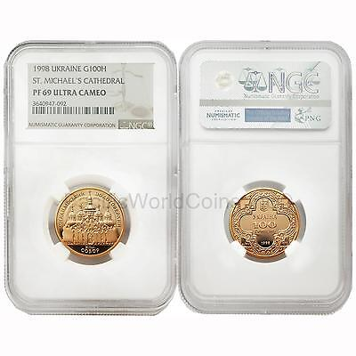 Ukraine 1998 St. Michael's Cathedral 100 Hryven Gold NGC PF69 ULTRA CAMEO