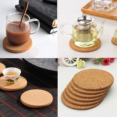 5pcs Round Coasters Drink Placemats Plain Coffee Wine Tablemats Cup Mat Tea Cork