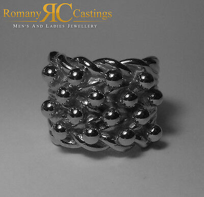 Men's 925 Solid Sterling Silver Highly Polished 4 Row Keeper 58.8 grams Size Z+1