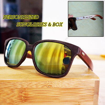 Personalized Engraving Walnut Wood Mirrored Sunglasses Groomsmen Birthday Gift