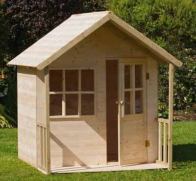 Garden Playhouse Wooden House Kids Outdoor Role Play Fun Cottage Playground