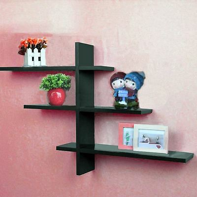 Black 1 Set T-Shaped Floating Wall Shelves BOOK Shelf DVD Storage Display NEW