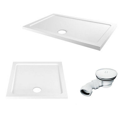 45mm Slimline Shower Enclosure Tray Rectangle Square Stone Resin Includes Waste