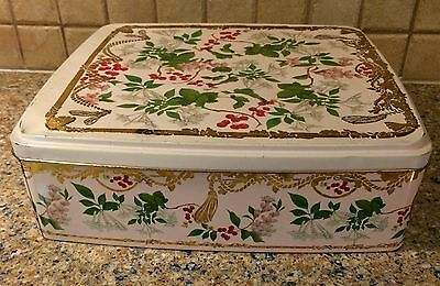 Vintage Biscuit Container Made In England Rectangle Flower Art Tin