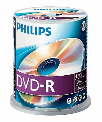 Philips DVD-R 120 Mins 4.7GB 16x Speed Recordable Blank Discs - 100 Pack Spindle