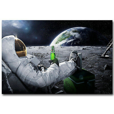 Astronaut on the Moon with Beer Funny Art Silk Poster 12x18 24x36 inch