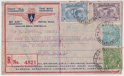"Stamps on ""First All The Way"" by air royal mail service Australia to England"