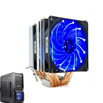 Dual Blue LED Fan CPU Cooler Heatsink 6 heat pipes for Intel LGA and AMD CPUS
