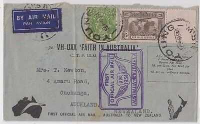 Stamps 6d airmail uprated Faith In Australia 1934 New Zealand flight cover