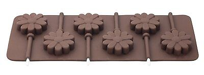 New 6 Flower Shape Silicone Chocolate Lolly Mould With Sticks Tala