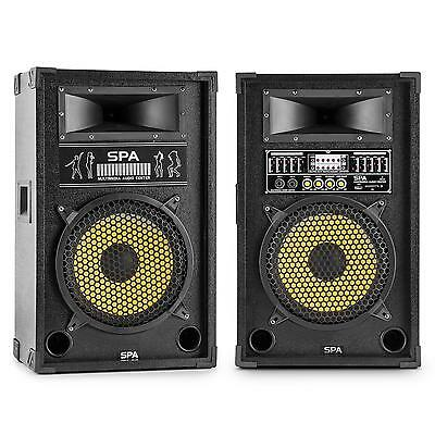 "Skytec Spy1200Y Active 12"" Dj Karaoke Party Speakers Usb Sd * Free P&p Uk Offer"