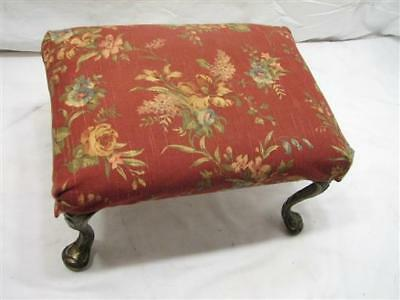 Antique Cast Iron Leg Upholstered Bench Stool Rest Foot Victorian
