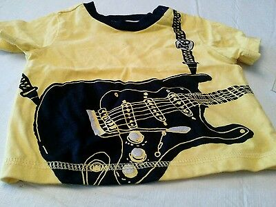 Baby boy yellow short sleeved shirt 3-6 months guitar new with tags