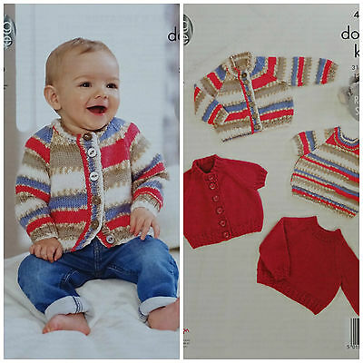 Baby KNITTING PATTERN Baby Cable Rib Cardigans & Jumpers DK 4620 King Cole