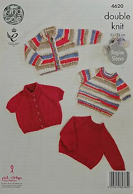 Baby KNITTING PATTERN Baby Jumpers & Cardigans Cable Rib DK 4620 King Cole