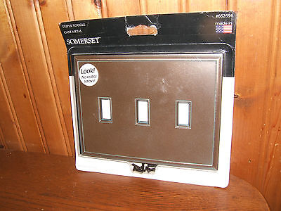 Somerset Tripple Toggle Cast Metal Wall Switch Plate Bronze Patina #662694 (NEW)