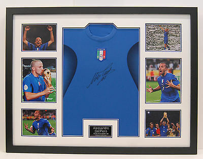 Alessandro Del Piero FRAMED Genuine Hand Signed ITALY 2006 World Cup Shirt (B)