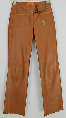 Womens HARLEY DAVIDSON Trousers Leather Camel Biker Motorcycle Cafe Racer 28