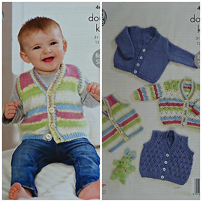 Baby KNITTING PATTERN Baby Plain & Lacy Waistcoats & Cardigans DK 4622 King Cole