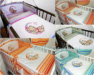3pcs BABY BEDDING SET/BUMPER/PILLOWCASE/DUVETCover to fit Cot/CotBed 100% Cotton